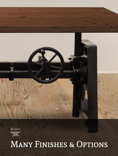 Machinist Crank Adjustable Dining Table