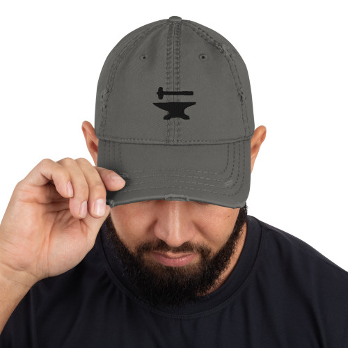 Urban Forge Hammer and Anvil Icon Distressed Hat
