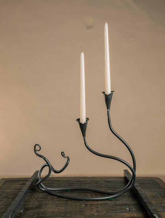 Ivy Iron Candle Holder Double