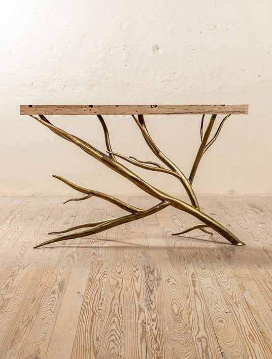 Driftwood Hand-Forged Iron Console Table