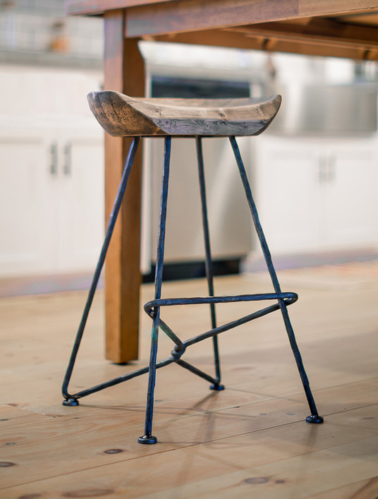 Twist Wrought Iron Stool with Sculpted Wood Seat