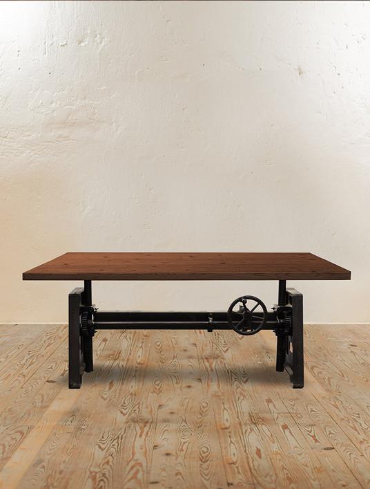 Machinist Crank Adjustable Dining Table