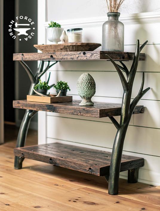 Driftwood Hand Forged Low Bookshelf