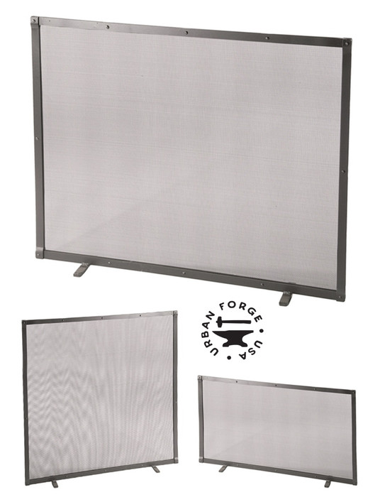 Custom Size Iron Fire Screen Full Faced Single Panel with Feet