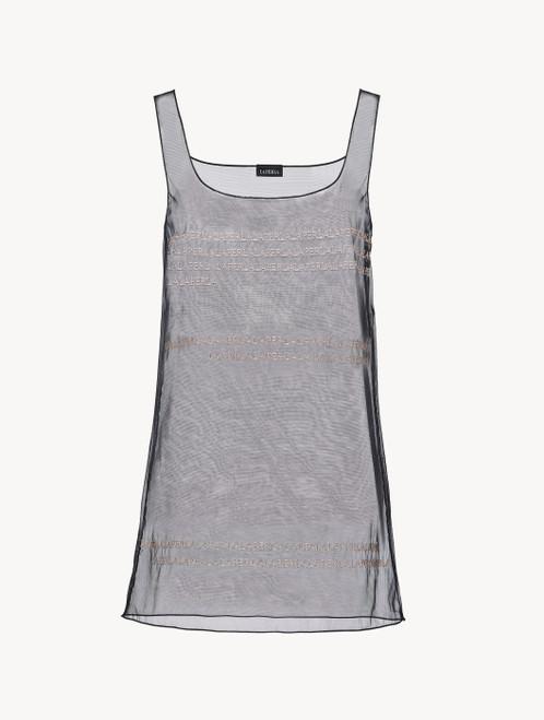 ブラック 刺繍入りストレッチチュール ナイトドレス