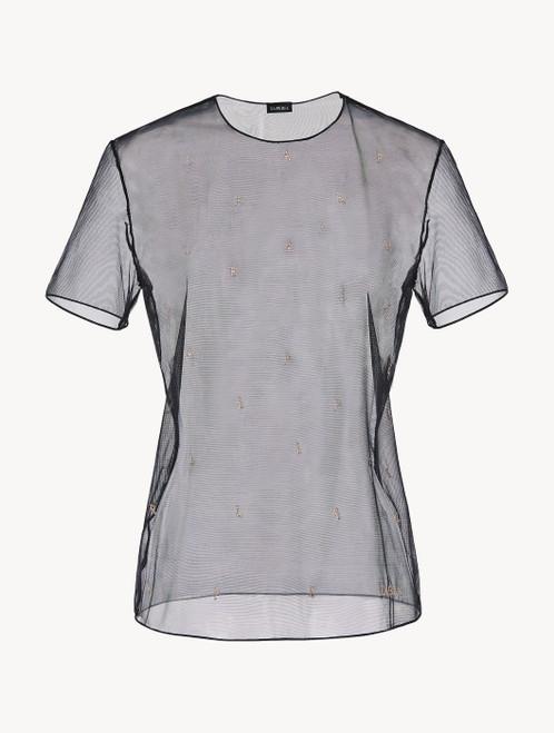 ブラック 刺繍入りストレッチチュール Tシャツ