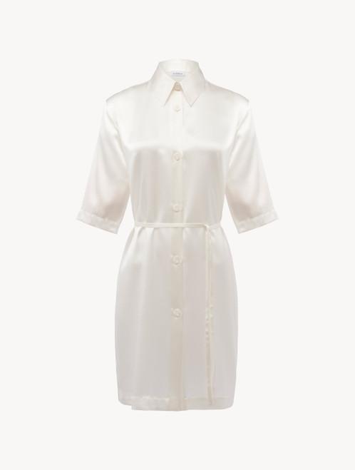 ホワイト シルク ロングシャツ