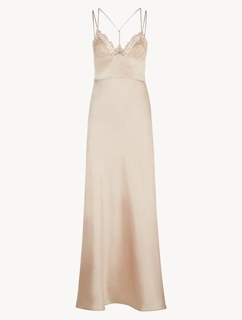 ピンク マクラメトリム ロングナイトドレス