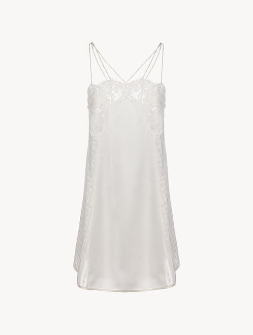 オフホワイト シルク&リバーレース ホルターネックスリップドレス