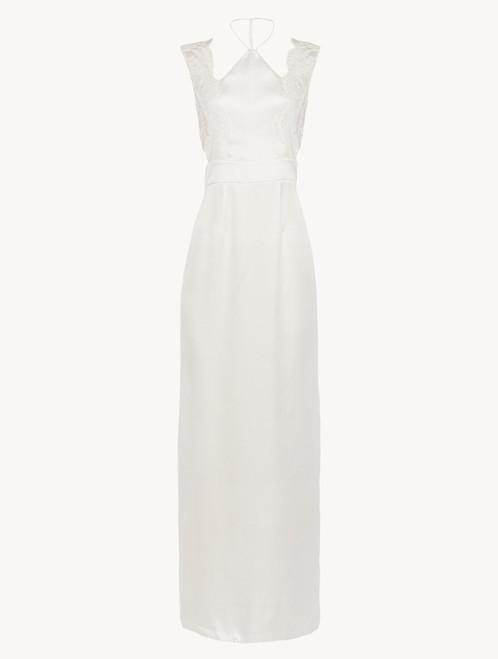 オフホワイト シルク&リバーレース ホルターネックナイトドレス