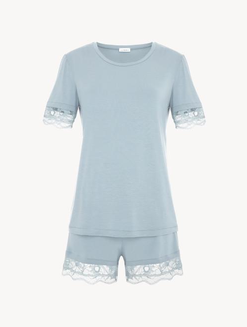 ライトブルー レーストリム レーヨンショートパジャマ