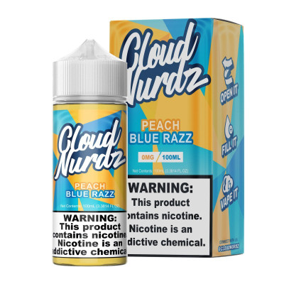 Cloud Nurdz E-liquid Peach Blue Razz 100mL