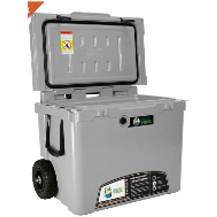 Frosted Frog 60 QT gray cooler with wheels and telescopic handle