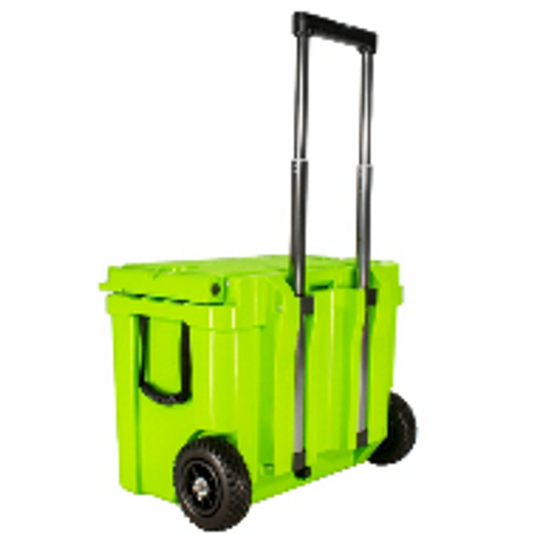 Frosted Frog Original Green 60 QT cooler with wheels and telescopic handle
