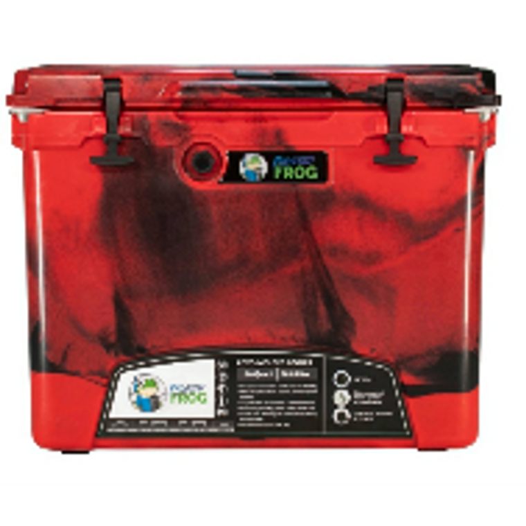 Frosted Frog Red Camo 60 QT cooler with wheels and telescopic handle
