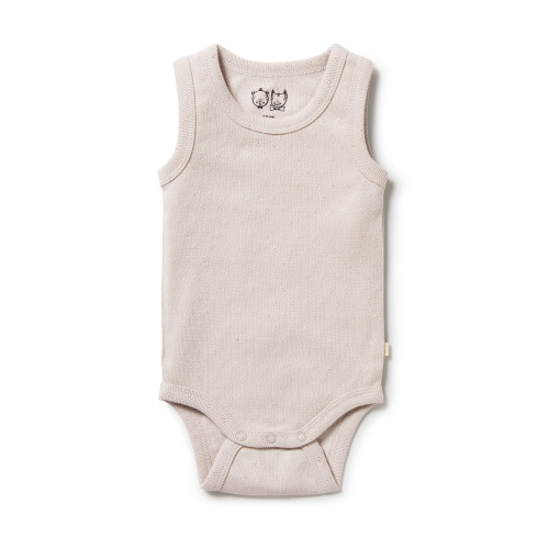 Wilson and Frenchy - Organic Pointelle Singlet Bodysuit - Clay