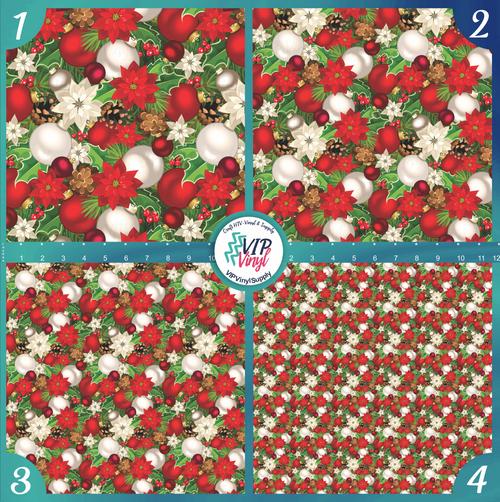Poinsettia Holiday Pattern HTV Vinyl - Outdoor Adhesive Vinyl or Heat Transfer Vinyl