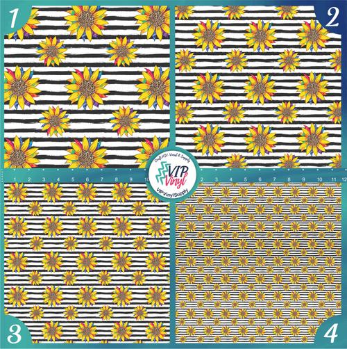 Striped Tie Dye Sunflower Pattern HTV Vinyl - Outdoor Adhesive Vinyl or Heat Transfer Vinyl