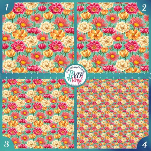 Floral pattern  HTV Vinyl - Outdoor Adhesive Vinyl or Heat Transfer Vinyl