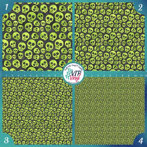 Green Skulls Pattern HTV Vinyl - Outdoor Adhesive Vinyl or Heat Transfer Vinyl