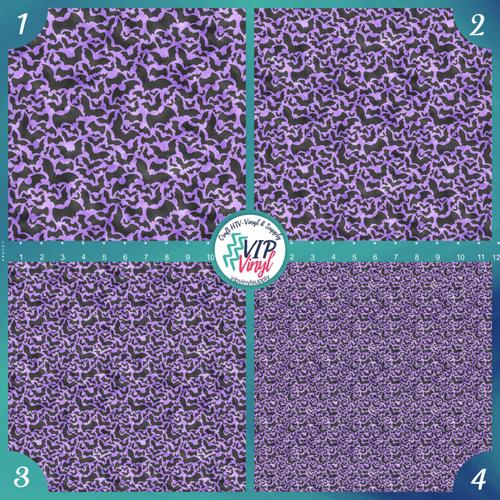 Purple Bats Halloween Pattern HTV Vinyl - Outdoor Adhesive Vinyl or Heat Transfer Vinyl