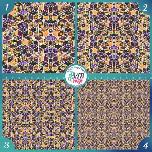 Geometric Halloween Pattern HTV Vinyl - Outdoor Adhesive Vinyl or Heat Transfer Vinyl