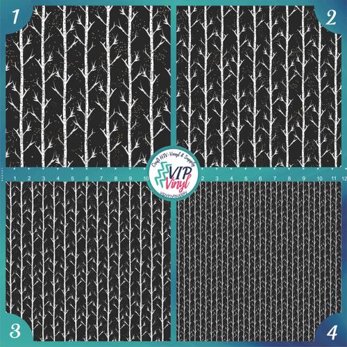 Woodland Christmas Birch Pattern HTV Vinyl - Outdoor Adhesive Vinyl or Heat Transfer Vinyl