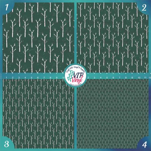 Green Woodland Christmas Birch Pattern HTV Vinyl - Outdoor Adhesive Vinyl or Heat Transfer Vinyl