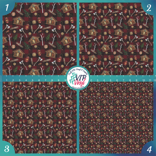Plaid Woodland Christmas Holiday Pattern HTV Vinyl - Outdoor Adhesive Vinyl or Heat Transfer Vinyl