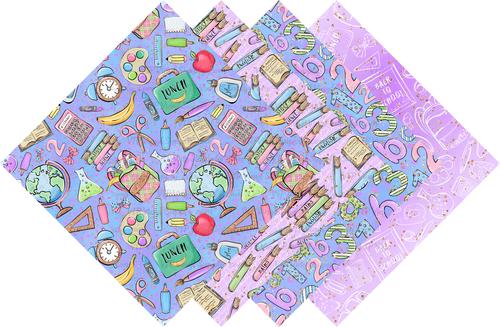 Back to School Collection Pattern HTV Vinyl - Outdoor Adhesive Vinyl or Heat Transfer Vinyl - Lavender