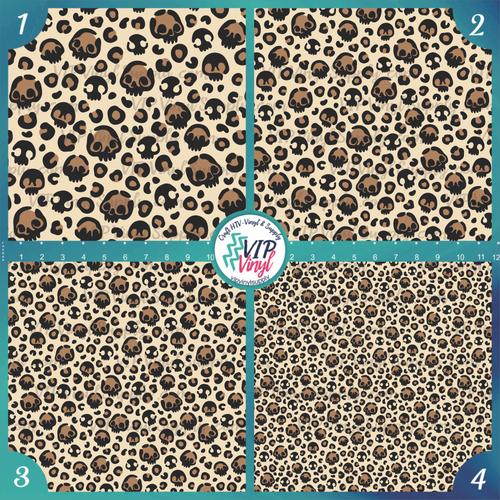 Skull Leopard Patterned HTV Vinyl - Outdoor Adhesive Vinyl or Heat Transfer Vinyl - Halloween Patterns