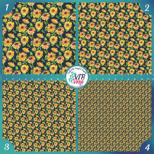 Hand Painted Acrylic Sunflowers Patterned HTV Vinyl - Outdoor Adhesive Vinyl or Heat Transfer Vinyl