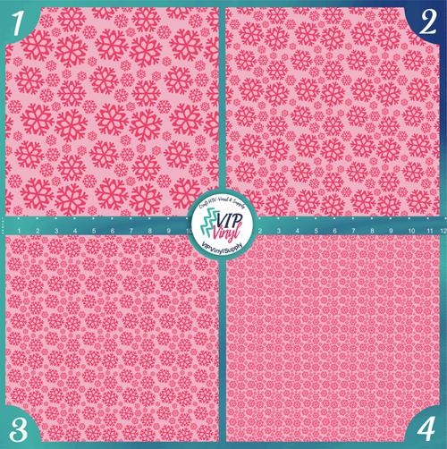 Pink Snowflakes Christmas Holiday Pattern HTV Vinyl - Outdoor Adhesive Vinyl or Heat Transfer Vinyl