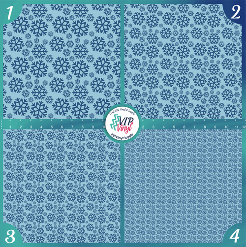 Blue Snowflakes Christmas Holiday Pattern HTV Vinyl - Outdoor Adhesive Vinyl or Heat Transfer Vinyl