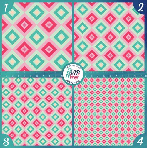 Pink Mint Christmas Holiday Pattern HTV Vinyl - Outdoor Adhesive Vinyl or Heat Transfer Vinyl