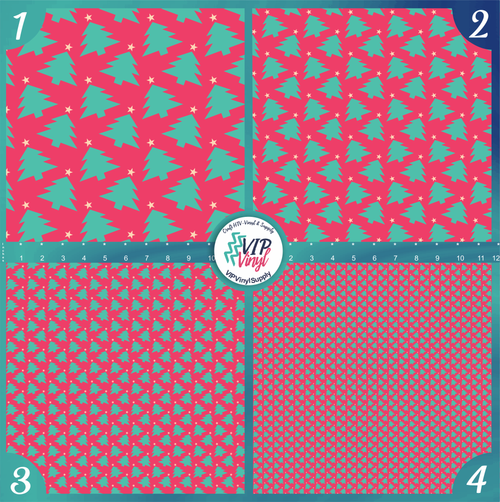Pink Mint Christmas Trees Holiday Pattern HTV Vinyl - Outdoor Adhesive Vinyl or Heat Transfer Vinyl