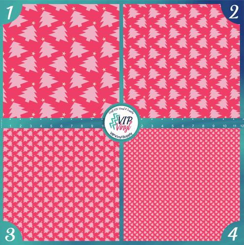 Pink Christmas Trees Holiday Pattern HTV Vinyl - Outdoor Adhesive Vinyl or Heat Transfer Vinyl