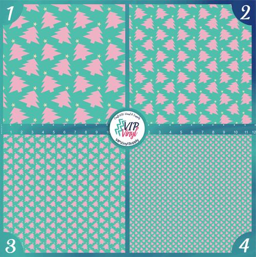 Mint Pink Christmas Trees Holiday Pattern HTV Vinyl - Outdoor Adhesive Vinyl or Heat Transfer Vinyl