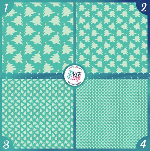 Mint Christmas Trees Holiday Pattern HTV Vinyl - Outdoor Adhesive Vinyl or Heat Transfer Vinyl