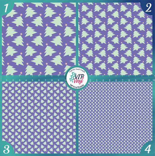 Purple Mint Christmas Trees Holiday Pattern HTV Vinyl - Outdoor Adhesive Vinyl or Heat Transfer Vinyl