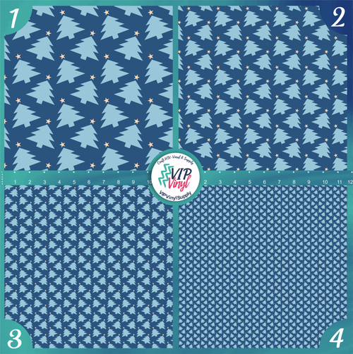 Blue Christmas Trees Holiday Pattern HTV Vinyl - Outdoor Adhesive Vinyl or Heat Transfer Vinyl