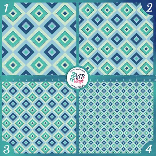 Blue Mint Christmas Holiday Pattern HTV Vinyl - Outdoor Adhesive Vinyl or Heat Transfer Vinyl