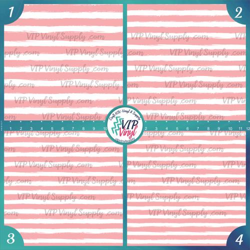 Light Pink & White Paint Stripe Patterned HTV Vinyl - Outdoor Adhesive Vinyl or Heat Transfer Vinyl