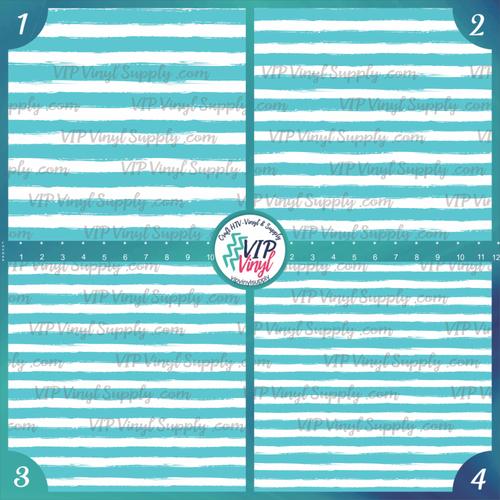 Aqua & White Paint Stripe Patterned HTV Vinyl - Outdoor Adhesive Vinyl or Heat Transfer Vinyl