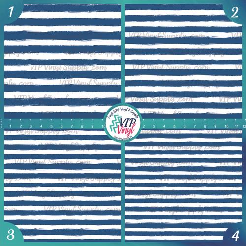 Navy Blue & White Paint Stripe Patterned HTV Vinyl - Outdoor Adhesive Vinyl or Heat Transfer Vinyl