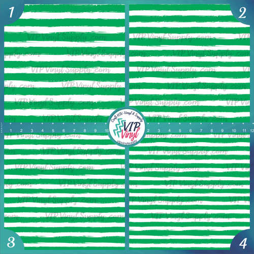 Green & White Paint Stripe Patterned HTV Vinyl - Outdoor Adhesive Vinyl or Heat Transfer Vinyl