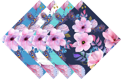 Boho Floral Collection Patterned HTV Vinyl - Outdoor Adhesive Vinyl or Heat Transfer Vinyl