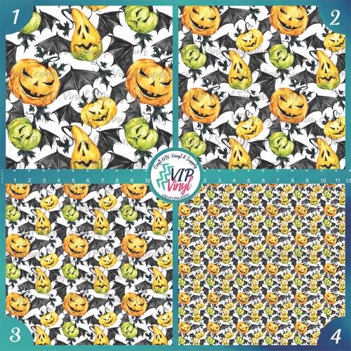Watercolor Halloween Patterned HTV Vinyl - Outdoor Adhesive Vinyl or Heat Transfer Vinyl  - Pumpkin Bats