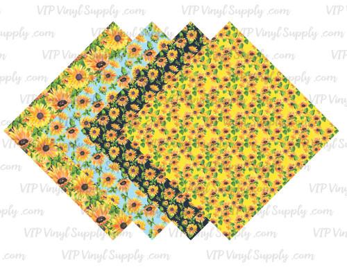 Sunflower Collection Pattern HTV Vinyl - Outdoor Adhesive Vinyl or Heat Transfer Vinyl