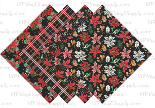 Poinsettia and Plaid Collection Pattern HTV Vinyl - Outdoor Adhesive Vinyl or Heat Transfer Vinyl -